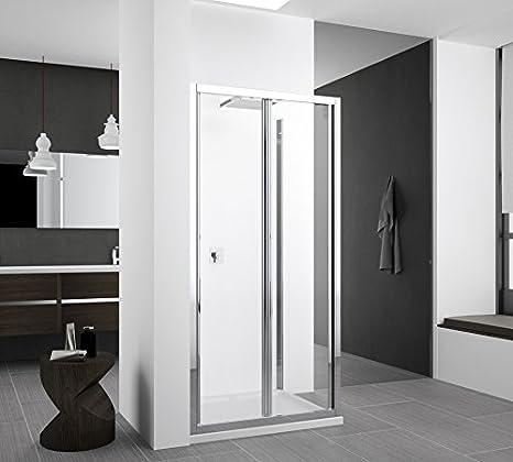 Puerta de ducha plegable Zephyros S de cristal Securit antical transparente 6 mm con apertura de securité: Amazon.es: Bricolaje y herramientas