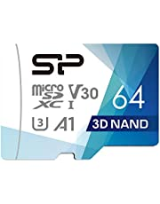 Silicon Power 64GB Micro SDXC Card 100MB/s Read & 80MB/s Write U3, C10, A1, V30, 4K/HD High Speed Memory Card with Adapter