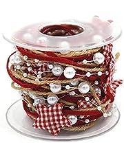 Kerstboom Lint 5m Decoratieve Plaid Ster Parel Linnen Lint Voor Kerst Decoratie, Cadeau Verpakking, Feestdecoratie