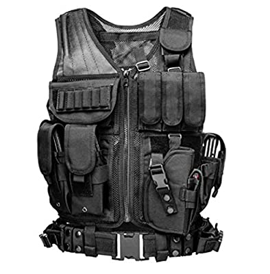 Jipemtra Tactical MOLLE Vest Adjustable Combat Training Military Mesh Police Vest Detachable Airsoft Paintball Vest Assault Swat Vest Breathable for Outdoor Hunting Fishing Army Fans CS Game Field Ope