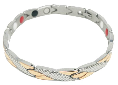 Silver and Rose Gold Women's Magnetic Therapy Bracelet | Improve Circulation, Manage Pain & Stress, Feel Better Naturally Magnetic Therapy Gold Bracelets