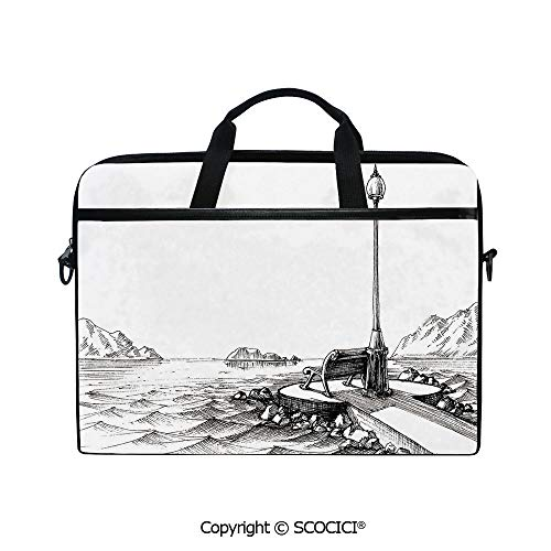 - Laptop Sleeve Notebook Bag Case Messenger Shoulder Laptop Bag Bench and Lantern in The Middle of Ocean Waves Mountains Rocks Artistic Monochrome Decorative with Handle and Extra Side Pockets