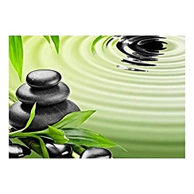 Dazzling Piece of Art, Rocks Over Bamboo Branches on a Lake Wall Mural, Quality Creation