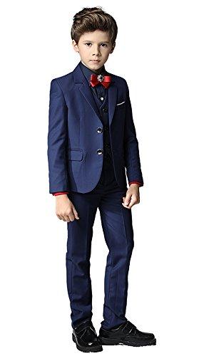 Flyme Toddler Kids Boys Suits 3 Piece Set Slim Fit ,Blazer Vest Pants Blue Size (Slim Fit Boys Suit)