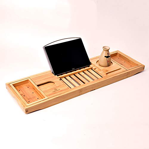 Bathroom Hardware Original Bamboo Bathroom Tray Telescoping Bathtub Desk For Phone Laptop Notebook Wine Glasses Candles Bathroom Shelf