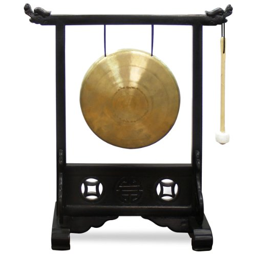 ChinaFurnitureOnline Chinese Brass Gong with Elmwood Double Dragon Stand, Wooden Mallet Included