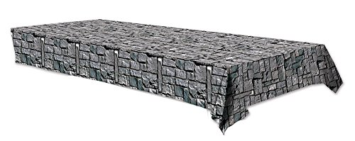 Plastic Tablecover Stone Wall Party Buffet Halloween Tablecloth ()