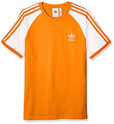 adidas Originals Men's 3-Stripes Tee, Bright Orange L (Orange Shirt Stripe)