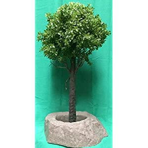 "Artificial UV Rated Outdoor 28"" Ball Boxwood Topiary Tree Bundled with Sm Rock Planter Cover, by Silk Tree Warehouse 99"
