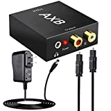AXB Audio Digital to Analog Signal Converter DAC with 3.5mm Jack, Optical SPDIF Toslink Coaxial to Analog Stereo L/R Converter Adapter with Optical Cable and Power Adapter for PS3 PS4 Xbox DVD Roku