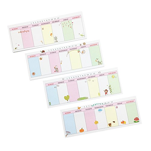 Mziart Pack of 4 Lovely Schedule Sticky Notes Weekly Task Planner, 40 sheets/Pad, Tear Off To Do Pad