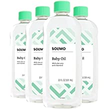 Amazon Brand - Solimo Baby Oil with Aloe Vera & Vitamin E, 20 Fluid Ounces (Pack of 4)