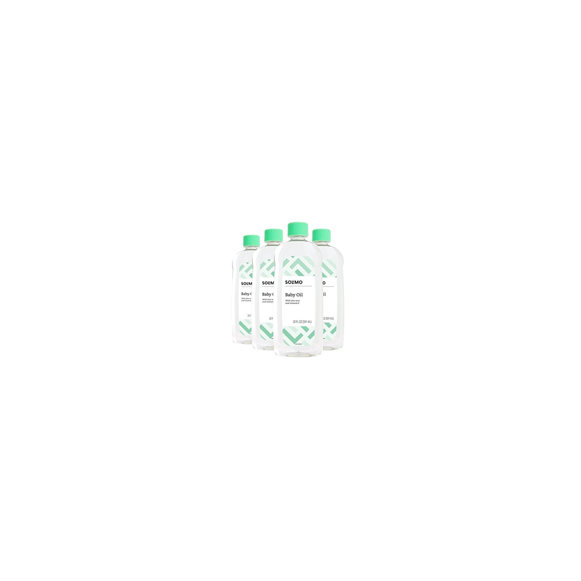 Amazon Brand – Solimo Baby Oil with Aloe Vera & Vitamin E, 20 Fluid Ounces (Pack of 4)