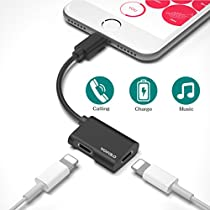iPhone 8 Adapter,Lightning Adapter for iPhone7/7 Plus/iPhone X,Wofalodata 2nd Generation Lightning to AUX Audio Headphone and Charge Cable Connector Compatible for iOS 10.3.iOS 11(Black)