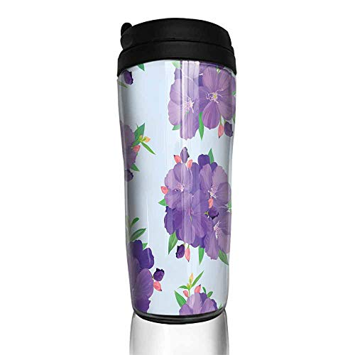 coffee cups warmer Seamless pattern with beautiful purple princess flower or tibouchina urvilleana and leaf on blue background 12 oz,coffee cup organizer for cabinet
