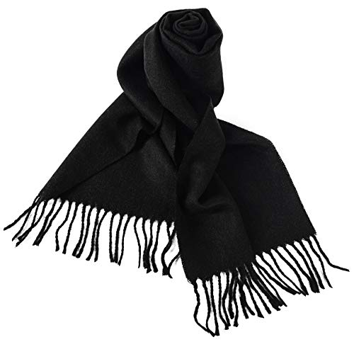 (KÖLN Cashmere Wool Scarf for Woman and Men - Premium Quality 100% Pashmina Cashmere, Unisex Design - Black)