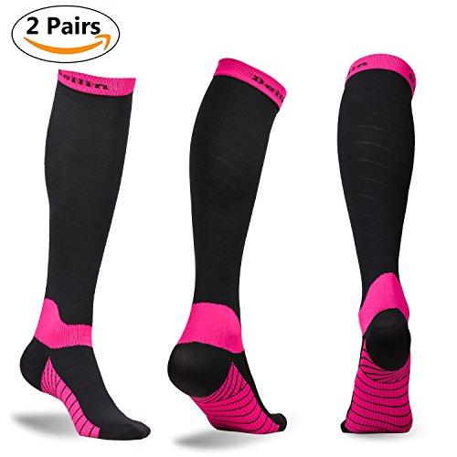 Compression Socks for Women & Men (2 Pairs), Deilin Graduated Compression Sock 20-30 mmhg for Running, Athletic Sports, Flight Travel, Nurses, Maternity Pregnancy, Shin Splints, Edema, Varicose (Maternity Nurse)