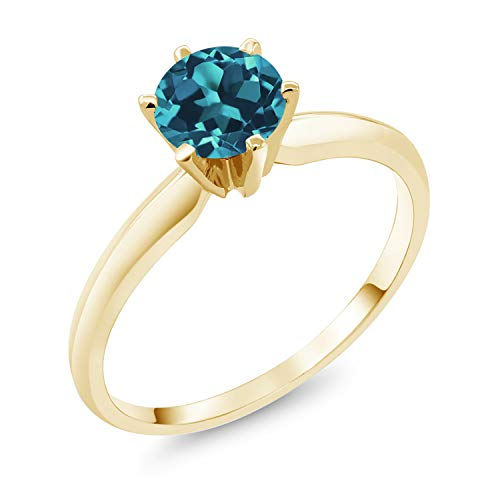 Gem Stone King 14K Yellow Gold London Blue Topaz Women's Solitaire Ring 0.75 Ctw (Size 7) ()