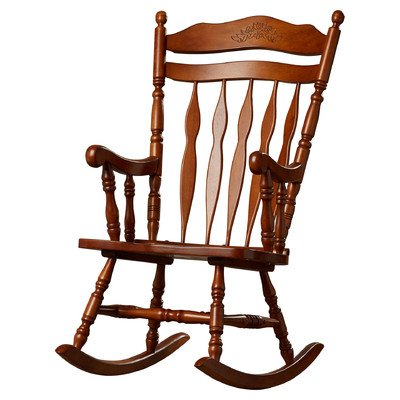 Greenwood Rocking Chair, Medium Oak Finish by Loon Peak