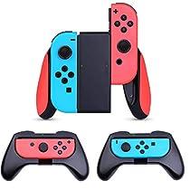 Nintendo switch ハンドル【3個セット】 AISITIN 任天堂 スイッチ Joy Conグリップ switchコントローラー ハンドル 作動中ランプ付き 精密寸法 反応素早い 装着簡単 耐衝撃 任天堂スイッチ ジョイコンハンドル (ブラック)