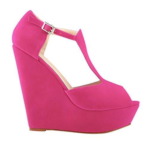 Rosa Comodo Al Mujer Sandalias Tobillo Cuna Tacon WanYang Zapatos Sandalias de Cool Decoradas Verano de xqX1x6IB