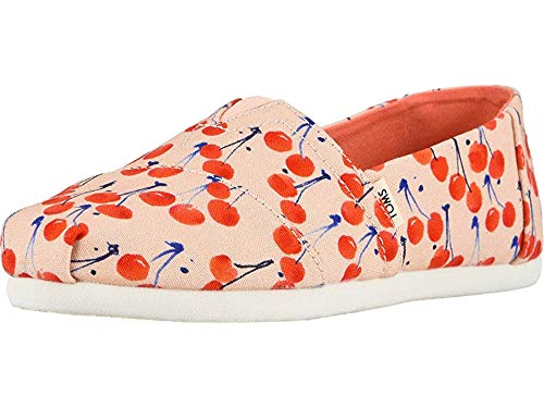 (Toms Girl's Youth Alpargata Classics Slip on Shoes (2.5 M US Little Kid, Coral Pink Cherry Cherie Print))