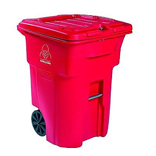 Heavy Duty Two Wheeled Regulated Medical Waste Cart with Secure Self Latching Lid Size: 64 Gallons
