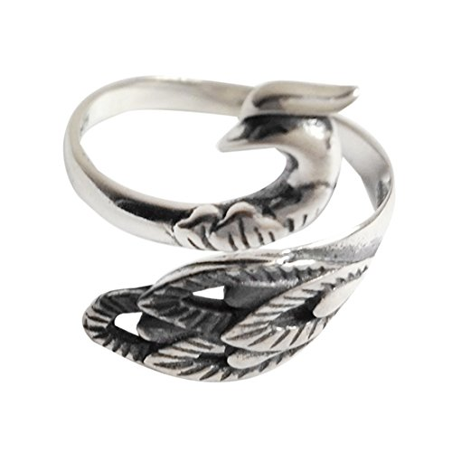 - SHEIS LOVING Rings Silver 925 for Women Rings Silver Band Antique Rings for Her with 925 Stamp for Sensitive Skin Vintage Peacock Genuine 925 Sterling Silver Rings Adjustable Size Good Gift