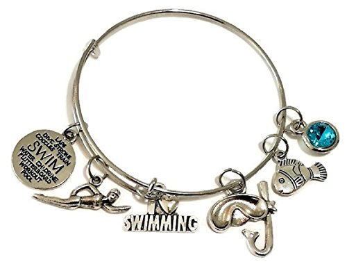 Swimming Bracelet, Swimming Jewelry, Swim Bracelet, Swim Coach Bracelet, Diving Jewelry, Snorkeling Jewelry, Swim Mom Bracelet, Swim Gift, Swimming Bangle Bracelet (Diameter: 5.8 cm / 2.28 inches)