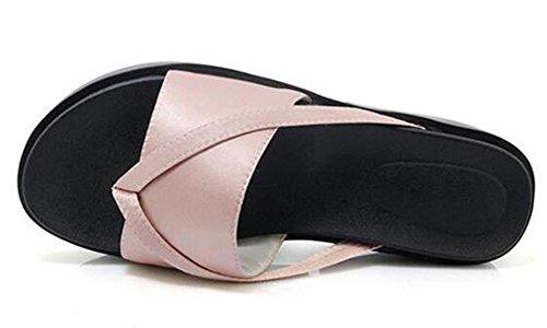 Easemax Kvinners Comfy Midten Wedge Hæler Plattform Thong Flip Flops Rosa