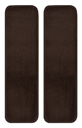 Stair Tread Treads Indoor 7 inch x 24 inch Machine Washable Skid Slip Resistant Carpet Stair Tread Treads Euro Collection (Set of 2, Brown)