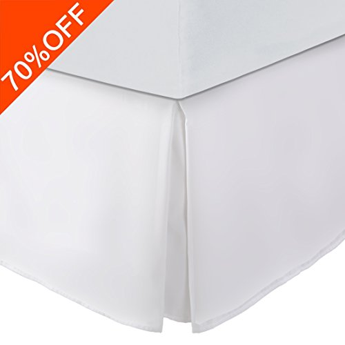 Balichun Ultra Soft Bed Skirt - Premium Queen Size White With 15 Inch Drop Hotel QualityHypoallergenic, Wrinkle and Fade Resistant