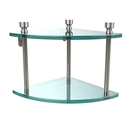 - Allied Brass FT-3-PNI Foxtrot Collection Two Tier Corner Glass Shelf Polished Nickel