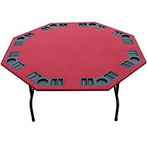 "52"" Burgundy Felt Folding Octagon Poker Table For Texas Holdem, Cards, Game. 52"" Size. Foldable Steel Legs With Thick Steel Frame. 8 Player, Built In Cupholders/Chiptray (Burgundy, 52"")"