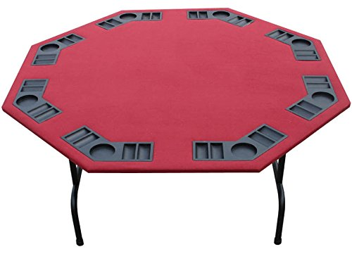 """52"""" Burgundy Felt Folding Octagon Poker Table For Texas Holdem, Cards, Game. 52"""" Size. Foldable Steel Legs With Thick Steel Frame. 8 Player, Built In Cupholders/Chiptray (Burgundy, 52"""")"""