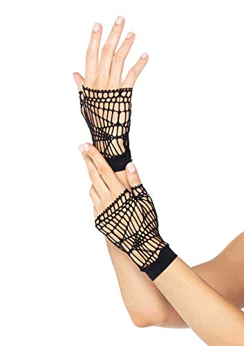 Leg Avenue Women's Distressed Net Fingerless Gloves, Black, One Size