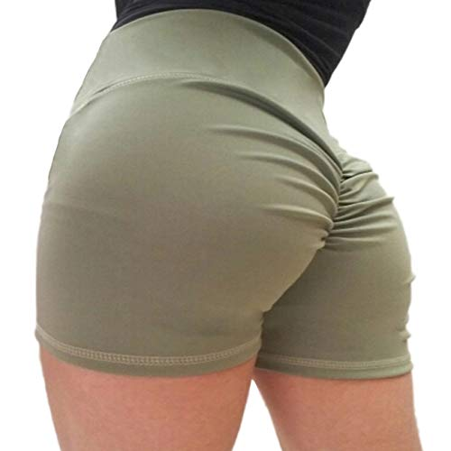 KIWI RATA Women's High Waisted Shorts Sport Fitness Gym Ruched Butt Lifting Workout Running Yoga Hot Pants ()