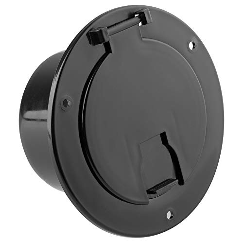 Electric Cable Hatch - Halotronics RV 5-inch Round Electric Cable Hatch for 30 and 50 Amp Cords (Black)
