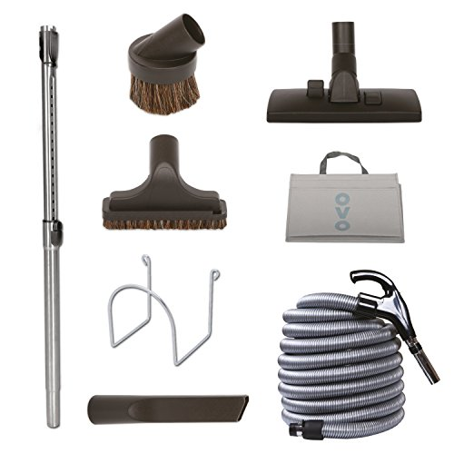 Nadair KIT-LV30S-OVO Central Vacuum Hardwood Floor Brush Cleaning Tools Attachment Kit - Tile Floors and Hard Surfaces - 30 ft. Switch Control Crushproof Hose, Black & Grey