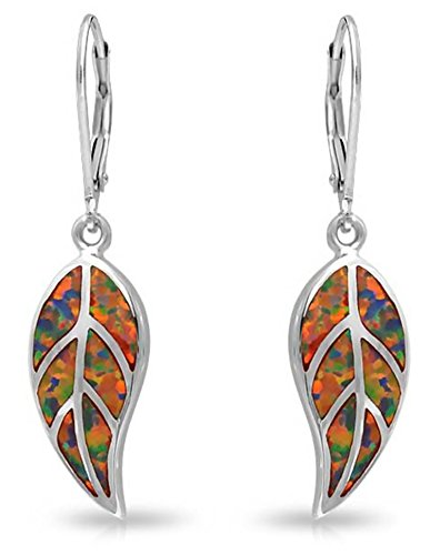 Red Earth Tones Created Opal Inlay Leverback Nature Leaf Dangle Drop Earrings 925 Sterling Silver ()