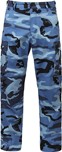 Mens Sky Blue Camouflage Cargo Army Camo Fatigues Military BDU Pants - Sky Blue Camo Bdu Shirt