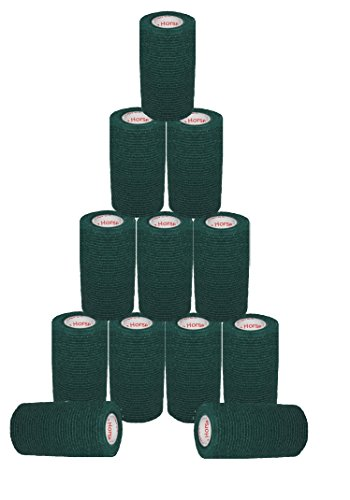 3 inch Medical Wrap Tape Bulk, FDA Approved Self Adherent Adhering Adhesive Stick Power Grip Cling Flex Bandage Rap - 3 inches x 15 Feet - 12 Rolls Hunter Green by Prairie Horse Supply