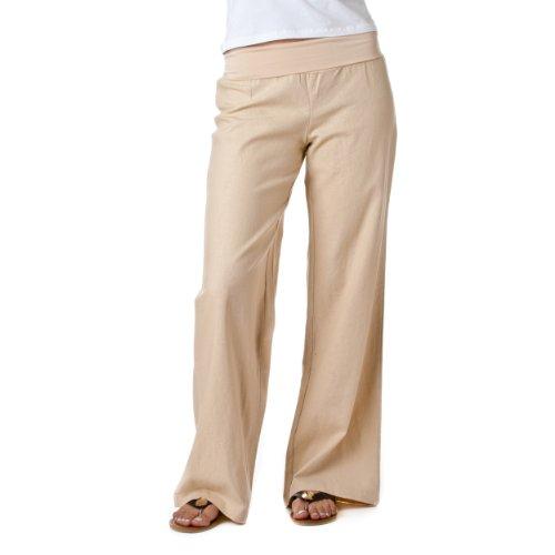 Love Tree Women's Fold-Over Waist Linen Pants, Taupe, Size S