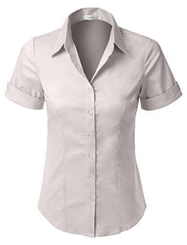 Cotton Tailored Blouse - LE3NO Womens Tailored Short Sleeve Button Down Shirt with Stretch  ivory Medium