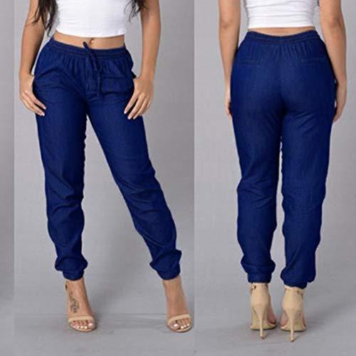 Jeans Lastique Loose Taille Pantalons Pantalon Pantalons Ample Femmes Denim Haute SANFASHION Bleu Pants Chic Bleu qCHgww