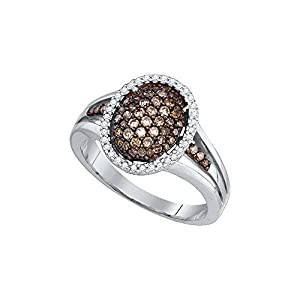 Size 8 - 10k White Gold Round Chocolate Brown Diamond Oval Cluster Ring (1/2 Cttw)