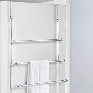Chrome 3 Tier Over Door Towel Rail Rack Hanger Holder Bathroom Organizer Storage