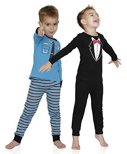 Prestigez Boys' 4 Piece Favorite Characters Cozy Cotton Pajama Sets, Policemen and Tuxedo, Size -