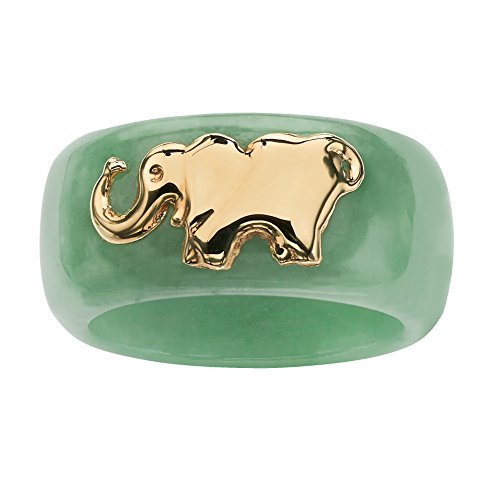 (Round Genuine Green Jade 10k Yellow Gold Elephant Ring)