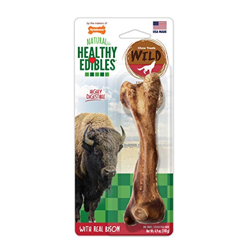 (Nylabone Healthy Edibles Wild Bison Dog Treats | All Natural Grain Free Dog Treats Made In the USA Only | Small and Large Dog Chew Treats | 1 Count)
